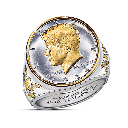 The JFK 100th Anniversary Legacy Silver Coin Ring With Half Dollar Presidential Bust Design