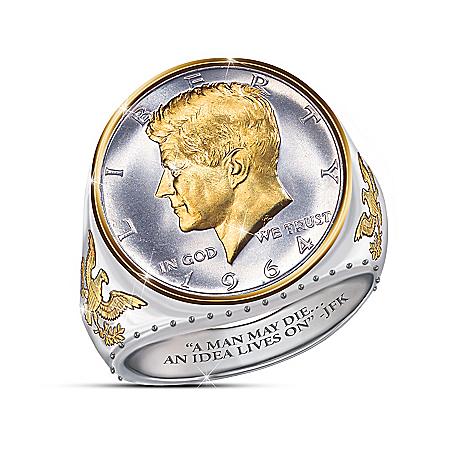 JFK 100th Birthday Silver Coin Ring Recalls Iconic 1964 JFK Half Dollar Design