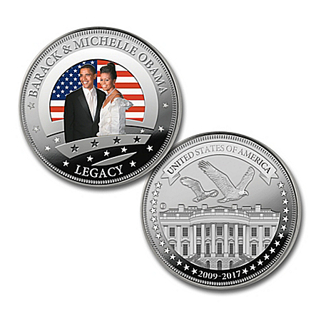 The President Barack Obama And First Lady Michelle Obama 1 Ounce Silver Tribute Proof Coin