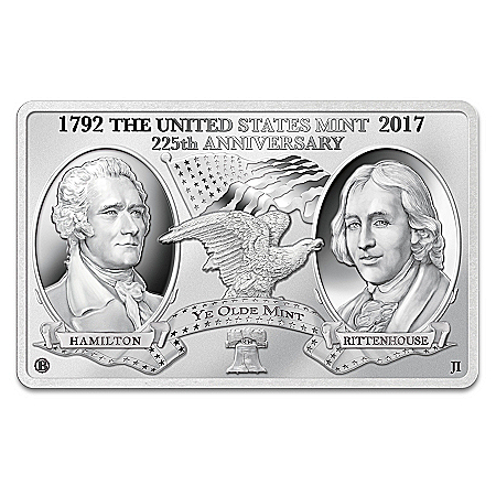 US Mint 225th Anniversary Tribute Silver Plated Minted Bar with Display Case