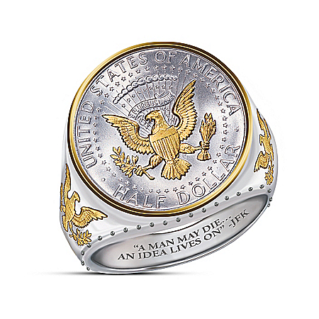 The JFK 100th Anniversary Legacy Silver Coin Ring With Half Dollar Eagle Reverse Design