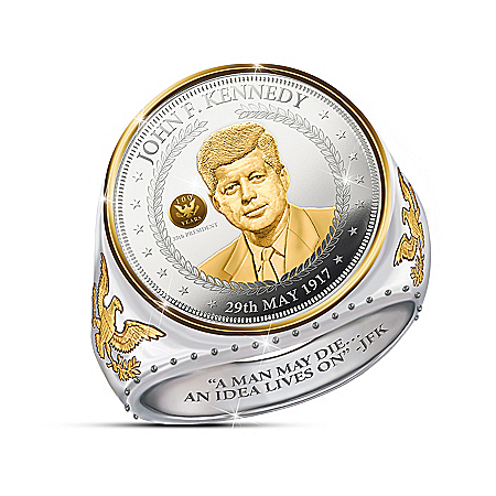 John F Kennedy 100th Anniversary Silver Coin Ring with Special Privy Mark