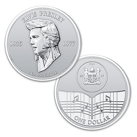 The Elvis Presley 40th Anniversary One Ounce Silver Legal Tender Dollar Coin from The Bradford Exchange Online Product Image