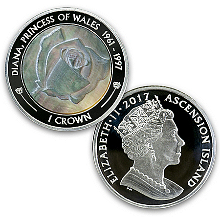 Princess Diana First Day Mother-Of-Pearl Silver Proof Coin