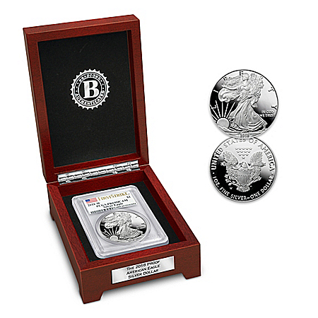 2018 First Strike Proof American Eagle Silver Dollar and Display Box