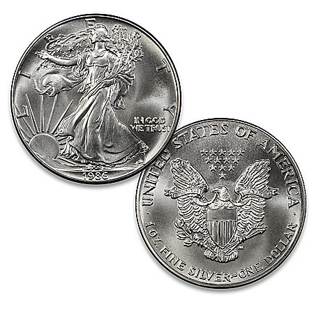1986 First-Year American Eagle Silver Dollar And Display Box