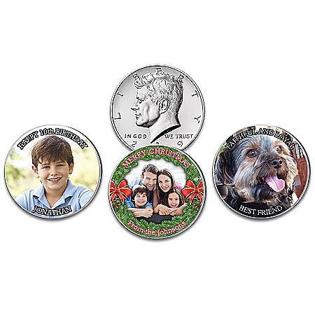 JFK Half Dollar Coin Personalized With Your Photo & Message