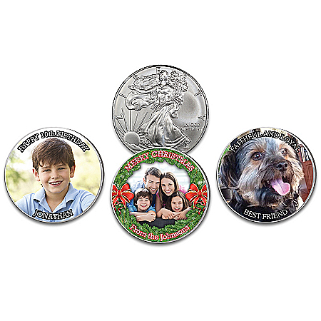 1 Oz. 99.9% Silver Coin Personalized With Photo And Text