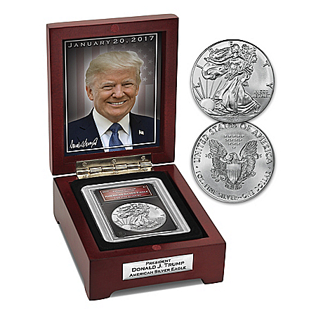 President Trump American Silver Eagle Coin With Display Box