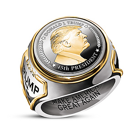 President Donald Trump Silver Coin Ring With 24K Gold
