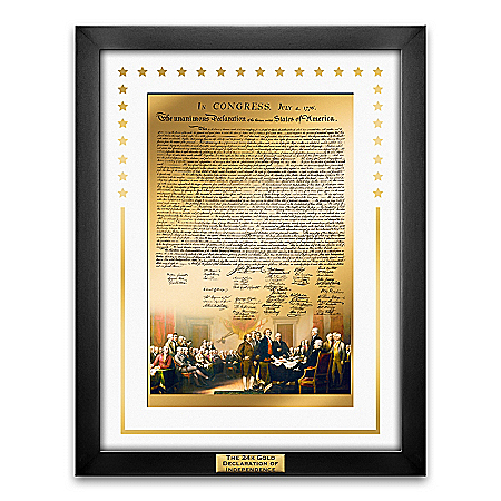 24K Gold Declaration Of Independence Framed Wall Plaque