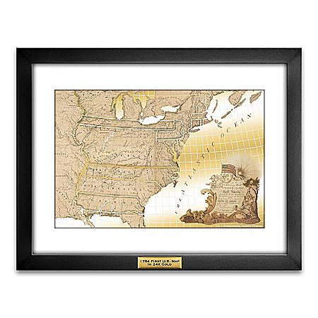 Framed Original United States Map Printed On Pure 24K Gold