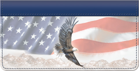 God Bless America American Bald Eagle and Flag Checkbook Cover Personal Checks