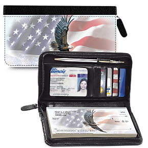 God Bless America Zippered Leather Checkbook Cover