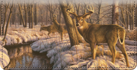 Winter Calm Whitetail Deer Checkbook Cover