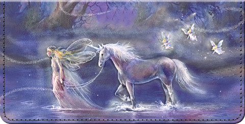 Follow Your Dreams Fantasy Unicorn and Fairy Art Checkbook Cover