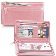 Pink Zippered Leather Checkbook Cover