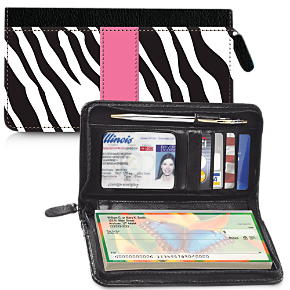 Zebra Print Zippered Wallet Checkbook Cover