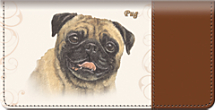 Pug Dog Checkbook Cover