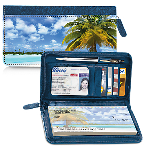 Tropical Paradise Zippered Wallet Checkbook Cover
