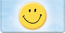 Keep Smiling! Leather Checkbook Cover