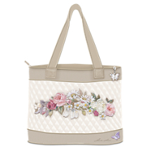 Lena Liu Embroidered Art Tote Bag With FREE Cosmetic Case