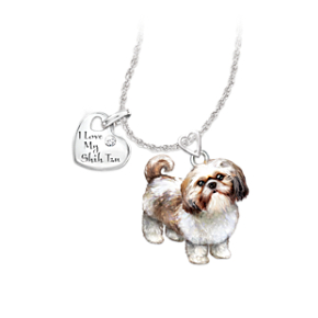 Shih Tzu Dog Pendant Necklace with Moveable Legs and Tail