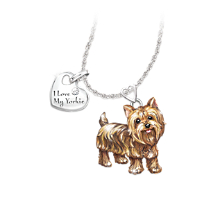 Yorkie Dog Pendant Necklace with Moveable Legs and Tail