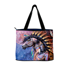 Spirit Of The Painted Pony Tote With Free Cosmetic Case