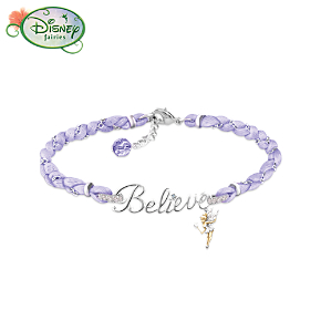 Disney Tinker Bell Believe Silk Cord Bracelet With Crystals