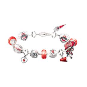 OSU Buckeyes Charm Bracelet With Swarovski Crystals
