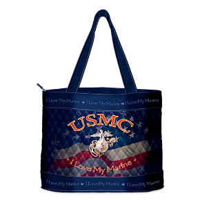 I Love My Marine Quilted Tote Bag and Free Cosmetic Case