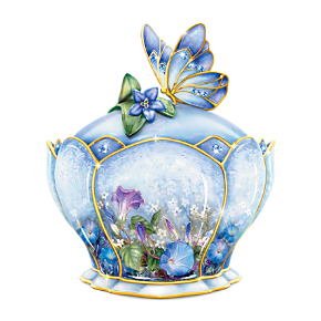 Lena Liu Porcelain Jeweled Music Box With Butterfly Handle