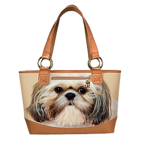 Shih Tzu Dog Lover's Leather-Trimmed Tote Bag