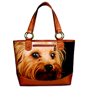 Yorkie Dog Lover's Leather-Trimmed Tote Bag