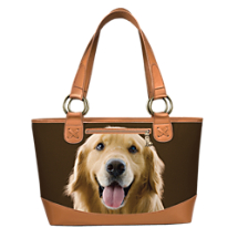 Golden Retriever Dog Lover's Leather-Trimmed Tote Bag