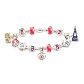 Boston Red Sox Charm Bracelet With Swarovski Crystals
