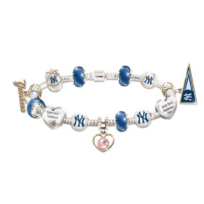 New York Yankees Charm Bracelet With Swarovski Crystal