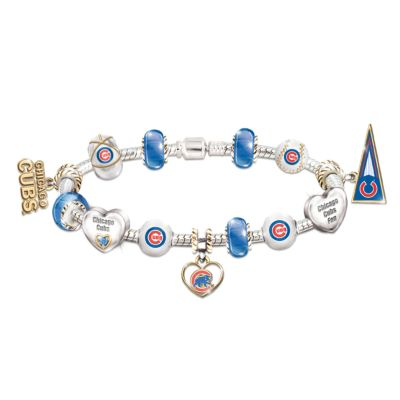Chicago Cubs Charm Bracelet With Swarovski Crystal