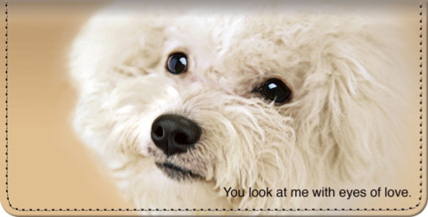 Faithful Friends Bichon Frise Checkbook Cover
