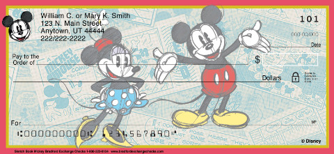 Sketch Book Mickey Personal Check Designs