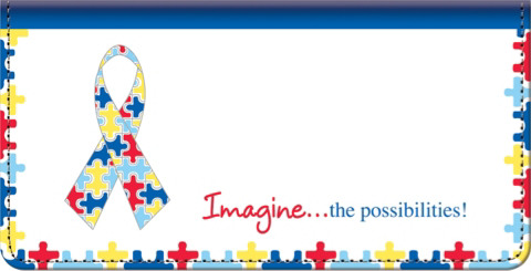 Autism: Imagine Leather Checkbook Cover
