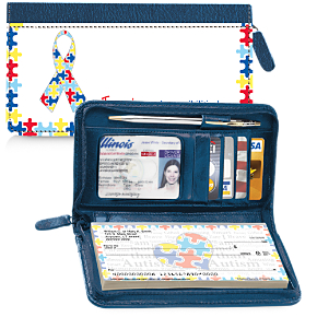 Autism: Imagine Zippered Wallet Checkbook Cover