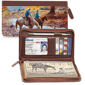 Cowboy Roundup Zippered Wallet Checkbook Cover