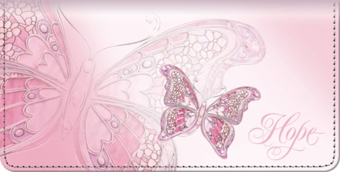 On The Wings of Hope Pink Butterfly Checkbook Cover