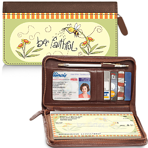 Just Bee Genuine Leather Zippered Checkbook Cover Wallet