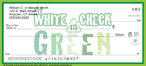 My White Check is Green Personal Checks