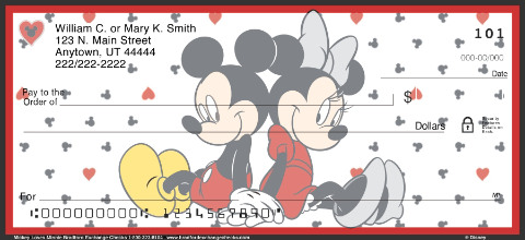 Mickey Loves Minnie Personal Check Designs
