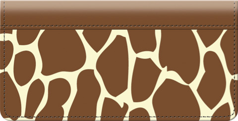 Giraffe Print Leather Checkbook Cover