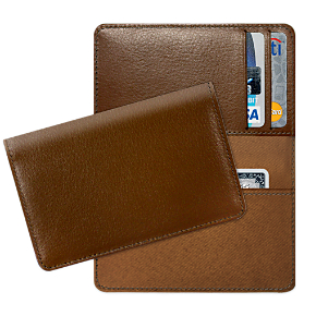 Cognac Leather Debit Card Holder